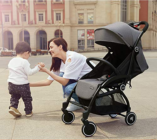 Ydq Foldable Baby Pushchair,Lightweight Baby Pram Pushchair Buggy Travel Stroller Plume Ydq TRAVEL ANYWHERE - Airplane travel stroller designed for airplane overhead compartment. It's super compact when folded. With extendable pull rod, it could be dragged anywhere you go with no effort instead of lifting it with your hand. COMFORTABLE SEAT - Lightweight pushchair with reclining backrest enables your baby to rest better in the well-padded seat. The pads on the headrest will help keep your baby's head in position even if it's asleep. The angle of legs support could also be adjusted, providing the most joyful ride for your baby. EASY USAGE - One-hand foldable buggy makes taking your baby for travels or walks a simple pleasure. It could stand on its own so you could take care of your baby with less things to worry about. 2