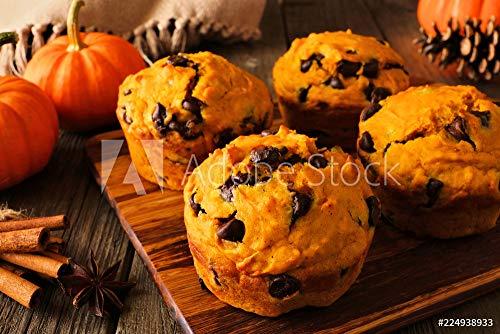 druck-shop24 Wunschmotiv: Autumn Pumpkin Chocolate chip Muffins. Close up Table Scene on a Dark Wood Background. #224938933 - Bild auf Forex-Platte - 3:2-60 x 40 cm / 40 x 60 cm (Chocolate Chip Muffins)