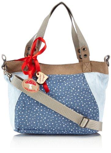 Adelheid Glückspilz Handtasche klein 11140133472 Damen Henkeltaschen 30x22x2 cm (B x H x T), Mehrfarbig (sternchen blau 734)