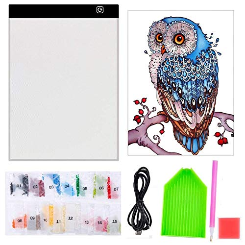 5D Diamond Painting Kits A4 Light Box with Full Drill Point Pen Accessories  LED Lighting Board Drawing Pad (Diamond Painting Kits)