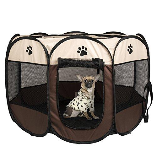 Parque Mascota de Juego Entrenamiento Dormitorio Perro Gato Conejo Octágono Plegable Lavable Durable 73x 73x 43 CM, Blanco y Café