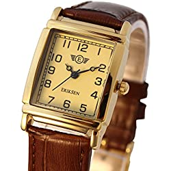 Ladies Dress Watch Rectangular Leather Strap LG