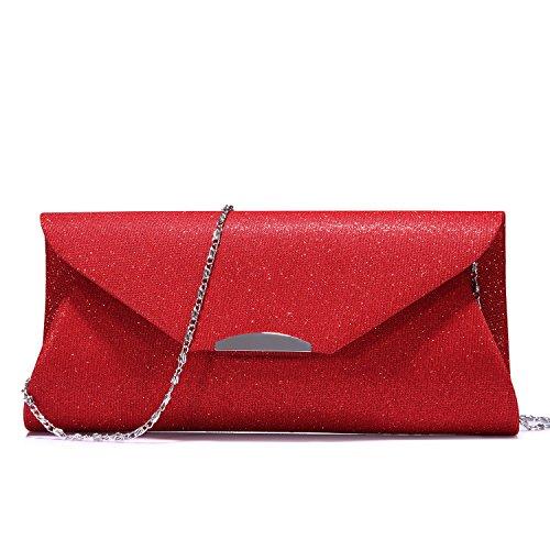 Damen Clutch Glitzer Elegant Abendtasche Glänzend Stoff Handtasche mit Kette Schulterriemen für Party Braut Hochzeit Prom Cocktail Rot -