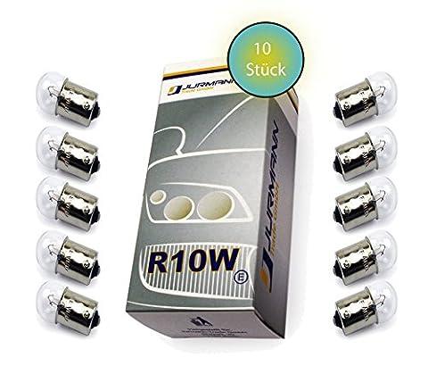 Jurmann Trade GmbH® Lot de 10clignotants de voiture à ampoules halogènes R10W 12V 10W BA15S