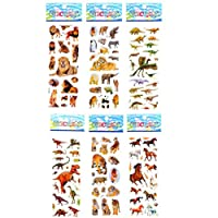 Poluka 6 Sheets Animals Stickers Bubble Puffy Stickers Dinosaur Sticker Tiger Lion Stickers Reward Kids Toys Stickers Bubble Puffy Stickers DIY Craft Stickers Notebook Making Gift