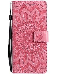 DENDICO Galaxy Note 8 Hülle, Premium Leder Wallet Tasche Etui Sonnenblume Prägung Hülle mit Magnetverschluss, Flip Brieftasche Handy Schutzhülle für Samsung Galaxy Note 8 - Rosa