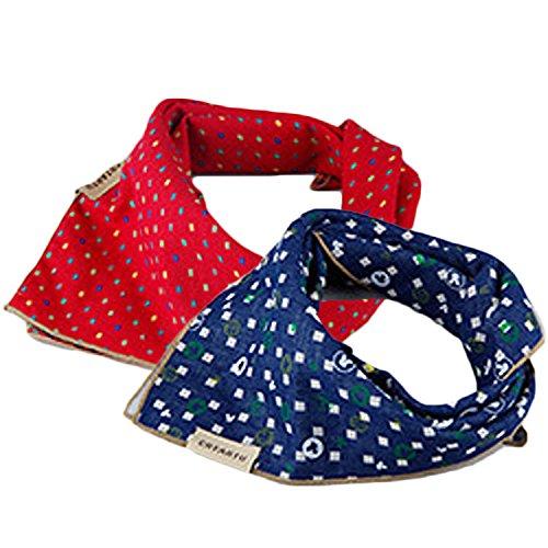 2 PCS 2 colores grandes animales de moda Dog Bandana de perro Bibs Triángulo cabeza bufanda Accesorios Pañuelo Uso de doble lado Azul + Rojo