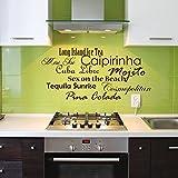 denoda Cocktails - Wandtattoo Schwarz 53 x 25 cm (Wandsticker Wanddekoration Wohndeko Wohnzimmer Kinderzimmer Schlafzimmer Wand Aufkleber)
