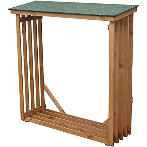dobar Cuscinetto legno scaffale portalegna da parete XL grande in legno per esterni in giardino, 140x 50x 143cm, in pino, colore: verde/marrone