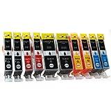 10 Cartouches d'encre compatibles avec CANON PGI-520 / CLI-521 avec Chip   2x PGI-520BK & 2x CLI-521BK/C/M/Y   pour Canon Pixma MP980 MP990 IP3600 IP4600 IP4700 MP540 MP550 MP560 MP620 MP630 MP640 MX860 MX870