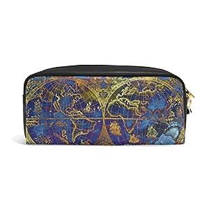 zzkko Vintage mapa del mundo azul funda de piel cremallera lápiz pluma estacionaria bolso de la bolsa de cosméticos bolsa bolso de mano