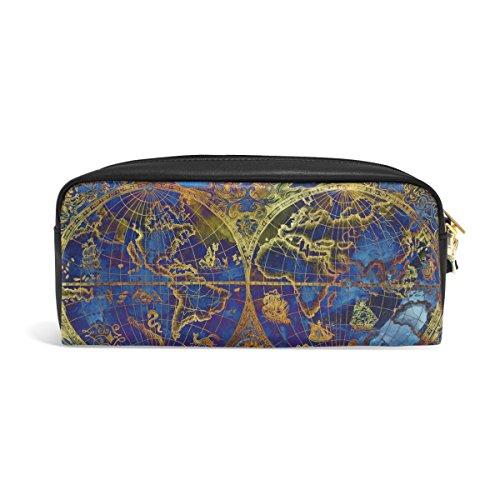 zzkko Vintage Weltkarte blau Leder Reißverschluss Federmäppchen Pen Stationäre Bag Kosmetik Make-up Bag Tasche Geldbörse (Weltkarte Stationären)