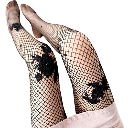 *URSING Damen Transparente Strumpfhose mit Netzeffekt Sexy Fischnetz Seidenstrümpfe Rose Drucken Spitze Pantyhose Netzstrumpfhose Netzstrümpfe Reizvoller Stockings Tights Leggings (Schwarz)*