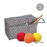 EisEyen Nähkasten Aufbewahrungsbox Nähgarnitur Tasche für Wolle, Tasche Stricken, Häkeln Taschen, Unvollendete Projekte, Häkelnadeln und Anderes Zubehör