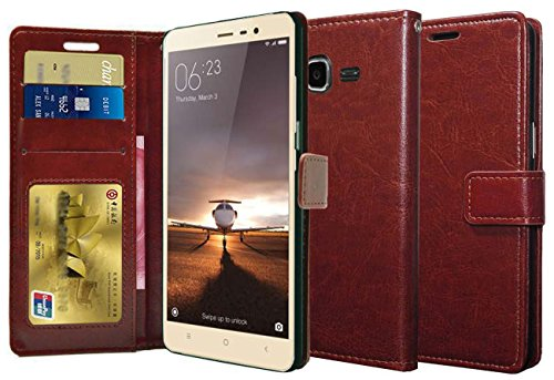 Febelo Premium Quality PU Leather Magnetic Lock Wallet flip cover Case for Samsung Galaxy On7 / Samsung Galaxy On7 Pro - Brown Color