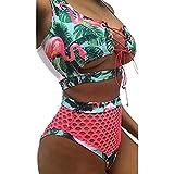 Bikini con Stampa delle Elegante, Allacciare Bendare Bikini A Vita Alta Bikini e Tankini - Costume da Bagno Bikini Costume da Bagno - Bikini da Bagno Donna