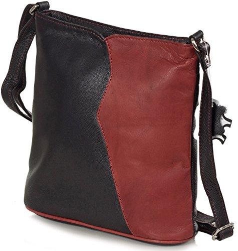 Signore Taschenloft Tracolla Crossbody Italiana Nappa - Di Medie Dimensioni (23 X 23 X 8 Cm) Nero / Rosso / Rosso