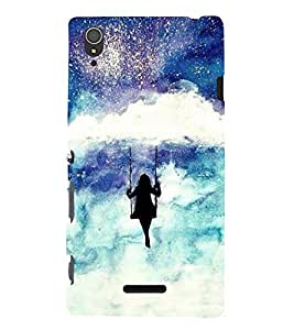 FUSON Girl Swinging On Cloud 3D Hard Polycarbonate Designer Back Case Cover for Sony Xperia T3