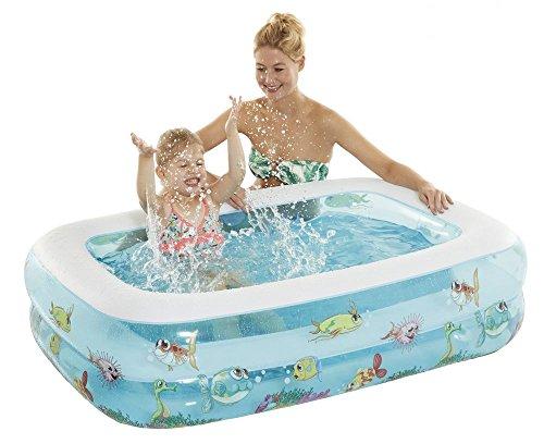 Wehncke Happy People 77734 - My First Pool Funny Ocean , Kinderpool Mit Aufblasbarem Boden, Ca.143x106x35 cm