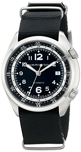 Hamilton Men's H76455933 Khaki Aviation Automatic Stainless Steel Watch with Black Canvas Strap
