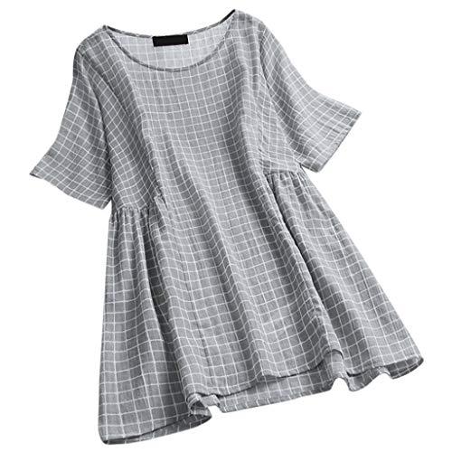 CAOQAO Damen Sommer Baumwollleinen Bluse Weinlese-BeiläUfige Plaid-O Ansatz-Kurzschluss-HüLse Plus GrößEn-Oberseiten-T-Shirt Bluse Lose BeiläUfige Weinlese Spitzen