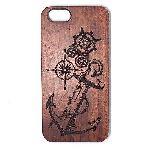 Custodia iPhone 6/6S, Natura Legno Custodia Wood back Cover Hard PC Bumper Protettiva Case Per Apple iPhone 6/6S(4.7 Pollici)Smartphone - Wooden Cover(Middle finger) Rose Anchor