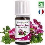 Huile Essentielle de GÉRANIUM ROSAT Bio Mearome - 10 ml - 100% Pure et Naturelle - HEBBD - HECT - Qualité et Fabrication Française