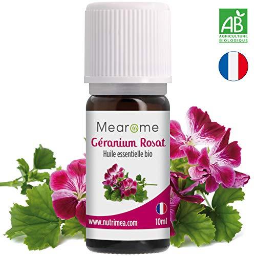 Huile Essentielle de GÉRANIUM ROSAT Bio Mearome - 10 ml - 100% Pure et Naturelle -...