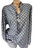 Yutila Damen Freizeit V-Ausschnitt Sternen Print Bluse Shirt Stars Langarm Hemd Tunika