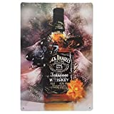 Schilder Vintage Metall Blech Dekoration: Flasche Jack Daniels Whisky.