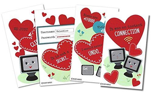Mini computer-themed Valentines (24Stück) für Valentine 's Day von nerdigen Worte