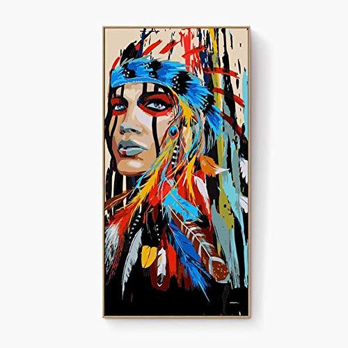 DIY Ölgemälde nach Zahlen Kunst Malen nach Zahlen auf Leinwand indische bunte Kostüme Frau Totem Dekoration Wildfedern Gesicht Gang Treppe Veranda