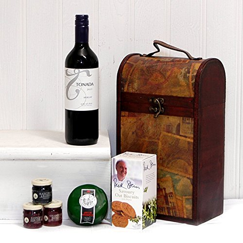 The Clarendon Wine & Cheese Vintage Chest Gift Hamper with Tonada Merlot Red Wine - Gift Ideas