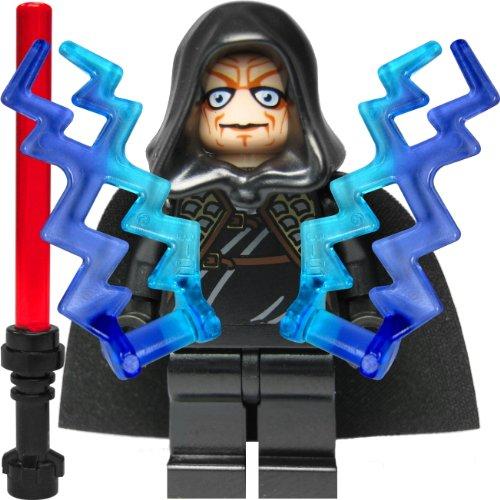 Preisvergleich Produktbild Custom Minifigur aus LEGO Star Wars Bauteilen: Imperator Palpatine / Darth Sidious mit 2 Machtblitzen und Laserschwert