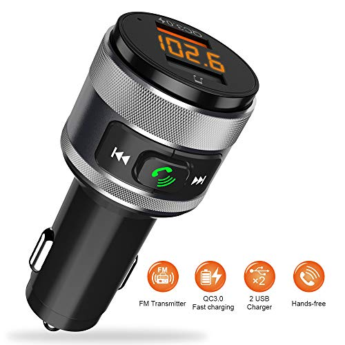Trasmettitore FM Bluetooth 4.2 per Auto con QC 3.0 Radio Bluetooth Auto Chiamate Vivavoce Ricevitore Bluetooth Car kit con 2 Porta USB Caricabatteria per Chiavetta USB MP3 Cellulari Altri Dispositivi