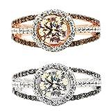 little finger Anillo de Compromiso para Novia con Diamantes de imitación Brillantes, diseño de pequeño Dedo, PlatinumUS 9, 9 US
