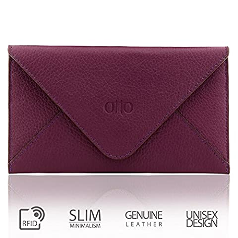 OTTO Echter Ledergriff und Kreditkartenhalter - Umschlag-Stil Reisebrieftasche mit Magnetischem Verschluss - Mehrere Schlitze für Geld, Ausweis, Smartphone - Persönlicher Organisierer