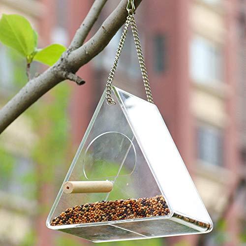 XuBa - Mangiatoia per Uccelli in Acrilico Trasparente Impermeabile da Appendere, Secchio per Decorare Alberi e Giardini Triangle