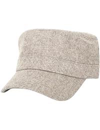 ililily Vintage Soft Wool Military Cap with Adjustable Strap Cadet Cap