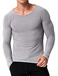 MODCHOK Herren Longsleeve Shirt Crew-Neck Langarmshirt T-Shirt Slim Fit  Pullover 18bccbbd2f