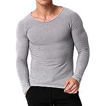 MODCHOK Homme T-Shirt Manche Longue Top Tee Shirt Pull Sport Basic Slim Fit 4a36af68896a