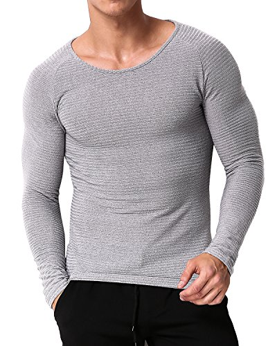 MODCHOK Herren Sweatshirt Longsleeve Shirt Hemd Crew-Neck T-Shirt Basic Slim Fit 1 Grau S