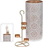 Windlicht Teelichthalter weiß kupfer farbig 29,5x13cm
