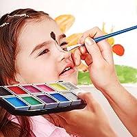 Herenear Pintura Cara 12 Colores, 1 Purpurinas, 3 Pinceles, Maquillaje Arte Paleta Set Niños Infántil para Hallowen, Carnaval, La Semana Santa, Fiestas, Cumpleaños, Discoteca, Navidad, etc