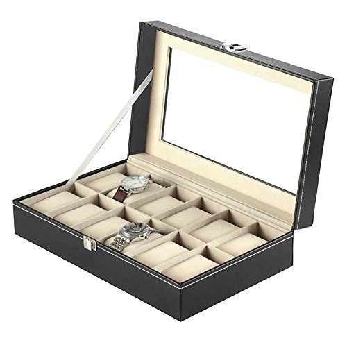 12 Watch Display Box Case Faux Leather