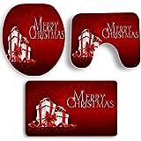 Badematten Set, Gusspower Home Merry Christmas Rutschfeste Sockel Teppich + Deckel Wc-abdeckung + Badematte - 3 Teil / satz (R)