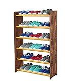 Schuhregal Schuhschrank Schuhe Schuhständer RBS- 6-65 (Seiten dunkelbraun, Stangen in der Farbe erle)