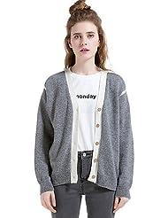 Erica Normal Cardigan Femme Décontracté / Quotidien Vacances simple,Couleur Pleine Col en V Manches Longues Laine Coton Polyester Hiver Epais