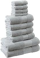 Highams Dreamscene Luxury 100% Egyptian Cotton 10 Piece Bathroom Towel Bale Face Bath Hand Gift Set, Silver Grey, 10-Piece