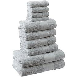 Highams Dreamscene Luxus 100% ägyptische Baumwolle 10-teiliges Badezimmer Handtuch Bale Face Bath Hand Geschenk Set, silber grau, 10-tlg.